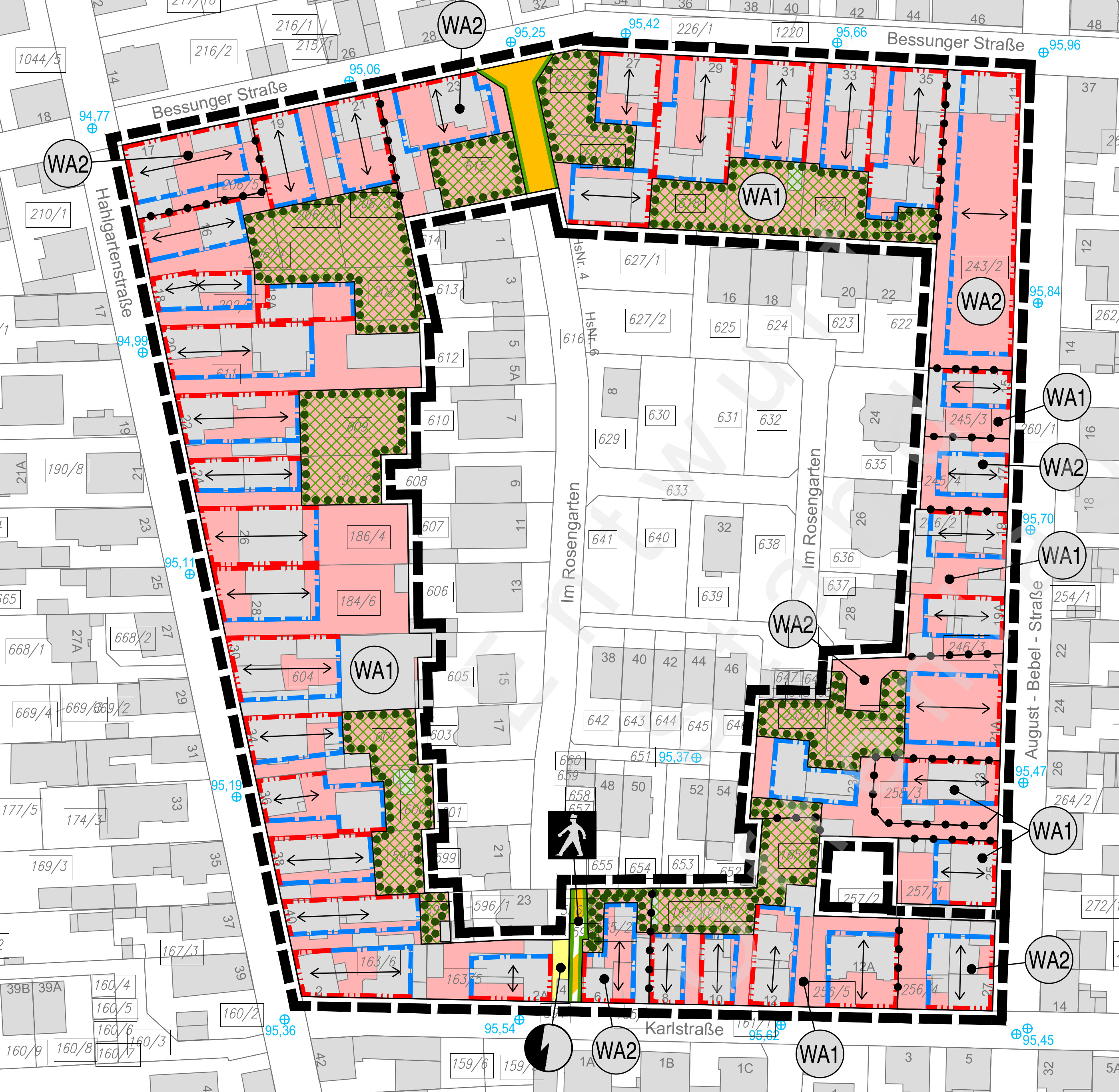 Bebauungsplan-Entwurf für das Quartier August-Bebel-Straße / Hahlgartenstraße / Karlstraße / Bessunger Straße