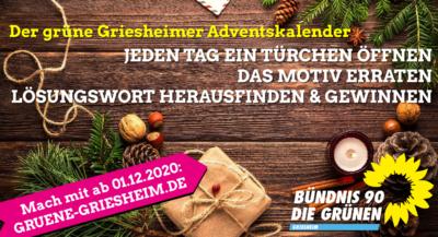 Der gruene Griesheimer Adventskalender startet am 01.12.2020
