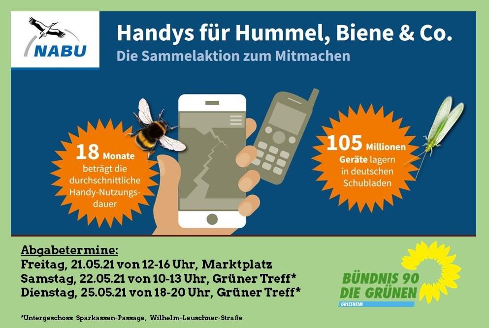 GRÜNE sammeln alte Handys für Hummel, Biene & Co.